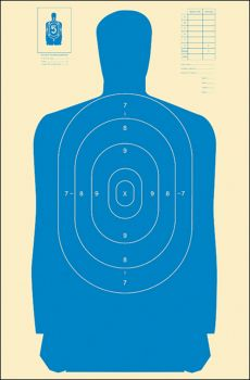 Action Target Inc B27s Blue100 B27s Qualification Target Hanging Paper 24 X 45 Silhouette Blue 100 Per Box