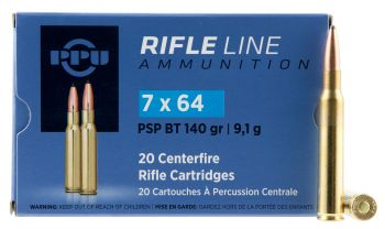 Ppu Pp764 Metric Rifle 7x64mm Brenneke 140 Gr Pointed Soft Point Boat Tail Pspbt 20 Bx/ 10 Cs