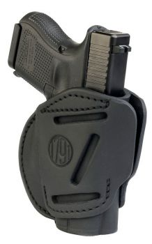 1791 Gunleather 3wh3sbla 3 Way Stealth Black Leather Owb Fits Glock 26ruger Lc9sw Shield Ambidextrous Hand