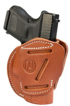 1791 Gunleather 3wh3cbra 3 Way Brown Leather Owb Fits Glock 26ruger Lc9sw Shield Ambidextrous Hand